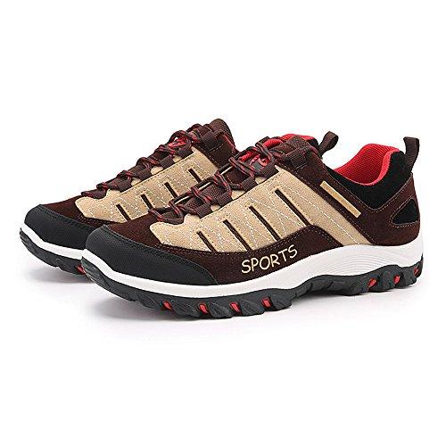 Hishoes Scarpe da Trekking Uomo Donna All'aperto Arrampicata Sportive Escursionismo Stivali Sneakers 39-47 Marrone