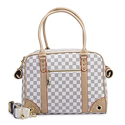 YiHao Lightweight PU Leather Pet Carrier Handbags Tote Bags for Dogs Cats Airline Approve Breathable Mesh Fashion… 3