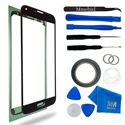 MMOBIEL Front Glas für Samsung Galaxy S5 G900 / S5 Neo G903M Series (Schwarz) Display Touchscreen mit 12 tlg. Werkzeug-Set / PreCut Sticker / Pinzette / 2mm Klebeband / Saugnapf / Metall Draht / Tuch (Digitizer 2 Samsung Note)