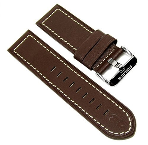 Police Ersatzband Uhrenarmband Leder Band Braun für Lancer Herrenuhr P12591