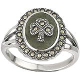 Sterling Silver Irish Shamrock Connemara Marble Marcasite Ring by Solvar