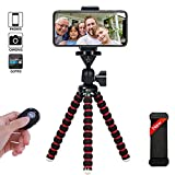 Phone Tripod, Portable and Flexible Camera Stand Holder with Wireless Remote and Universal Clip for Smart, Android Phone, Camera, Sports Camera GoPro (Small 7.48