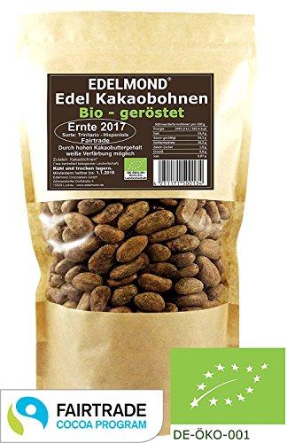 Edelmond FAIR TRADE geröstete Kakaobohnen. Bio Frischware. Grand Cru Qualität 500g