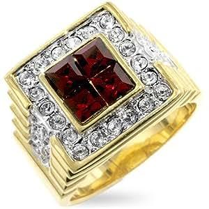 ISADY - Dimitri - Men's Ring - Cubic Zirconia Red - Size V
