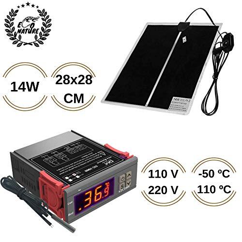 Eco Nature Termostato 110v-220v y Manta Termica 14w, Eléctrica, Calefactora o de Calor para Incubadora...