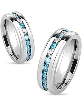 Edelstahl Ring - Mit abwechselnd transparenten und Aquamarin-Strasssteinen in Pavéfassung, 6 mm breit (Größe frei...