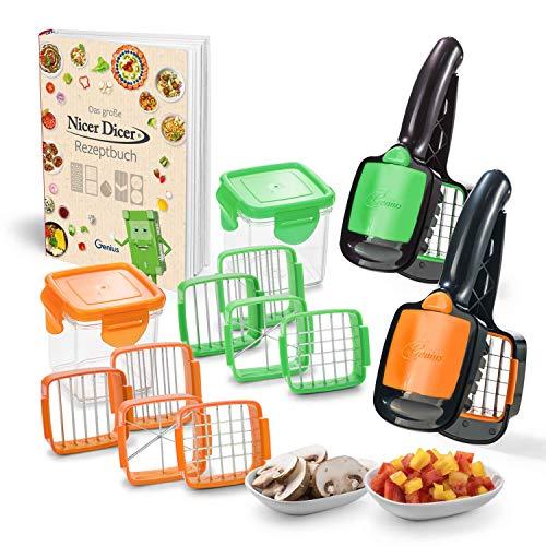 Genius Nicer Dicer Quick Set | Gemüseschneider | Allesschneider | Zwiebelschneider | Bekannt aus TV (15tlg. inkl. Rezeptbuch, grün/orange)
