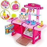 Spielküche Spielzeug Kinderküche Toaster Kinder KP6034 Küche mit Zubehör Rosa erste Küche Realistische Kinderküche