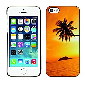 Omega Covers - Snap on Hard Back Case Cover Shell FOR Apple iPhone 5 / 5S - Orange Sunset Black Gold Tropical Island