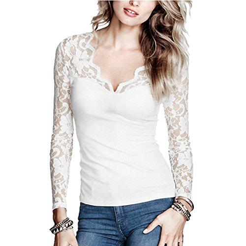 DJT Mujeres Clasico V-Escote Camisa Blusa de Manga Larga con Elementos de Encaje Beige L