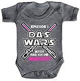 ShirtStreet Strampler mit Motiv Bio Baumwoll Baby Body kurzarm Mädchen - Das Wars jetzt hab ich die Macht, Größe: 3-6 Monate,Heather Grey Melange