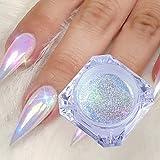 1Boîte holographique à ongles Poudre de paillettes arc-en-ciel Effet de couleur NEON Nail Art Flocons Décoration Chrome à ongles poussière Tip Manucure