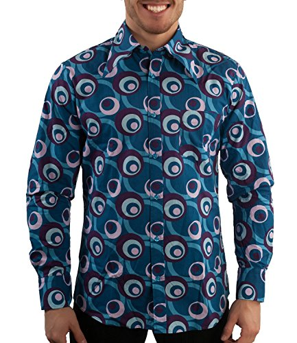 Comycom Party Hemd 70er Dots Muster Blau 4XL - Casual Dots-muster