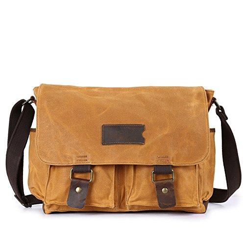Hukangyu1231 Einfache Retro Aktentasche Computer Tasche mit Reißverschluss Canvas Schultertasche Messenger Bag Farbe: Gelb Notebook für Notebooks