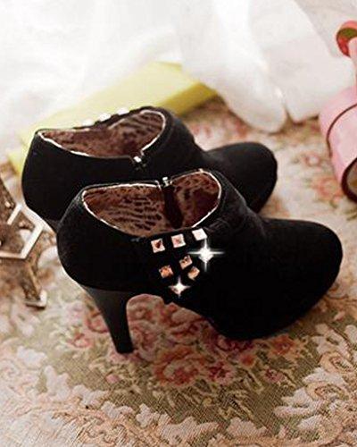 49a230aeba2b ... Minetom Damen Klassisch Vintage Schuhe Pumps High Heels Ankle Boots  Brautschuhe Party mit Schleife Strass Schwarz