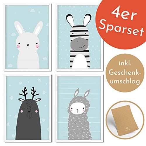 Golden Posters Poster Kinderzimmer 4er Set für Mädchen und Junge - Süße Motive mit Tieren - Hase, Lama, REH und Zebra - Blau DIN A4