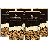 Greenbrrew Healthy Natural Strong unroasted Green Coffee - CARTE BLANCHE - Catalyst for weight loss, boosts metabolism, Helps in maintaining blood sugar level each pack 60g (20 Sachets PP) - Pack of 5