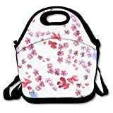 VTXWL Floral Pattern Seamless Blossom Flowers Blossom Cherry Branch Background Lunch Tote Lunch Bag Office Reusable
