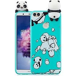 348477c3488 HopMore Funda para Huawei P Smart 2018 Silicona Dibujo 3D Divertidas Panda  Animal Carcasa Kawaii TPU
