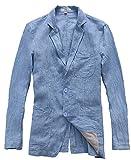 Insun Herren Leinen Sakkos Loose Freizeit Frühling Flachs Blazer Mit Zwei Knopf Lange Ärmel Einreihig Anzugjacke Blau 56