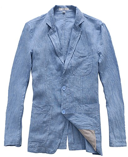 Insun Herren Leinen Sakkos Loose Freizeit Frühling Flachs Blazer Mit Zwei Knopf Lange Ärmel Einreihig Anzugjacke Blau 56 - Leinen-einreiher Sakko