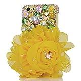 Spritech (TM) 3D handgemachte Mode Frauen Ipod Touch 6 Fall Luxuxdiamantentwurfs-Bling Gelb Big Strass Blumendekor freie harte Caver iPod Touch 6