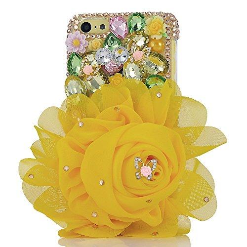Spritech (TM) 3D handgemachte Mode Frauen Ipod Touch 6 Fall Luxuxdiamantentwurfs-Bling Gelb Big Strass Blumendekor freie harte Caver iPod Touch 6 (Touch Ipod Fällen)