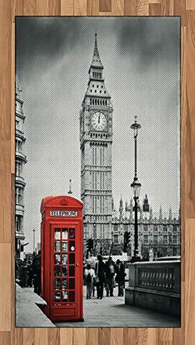 ABAKUHAUS London Teppich, Telefonzelle Big Ben, Deko-Teppich Digitaldruck, Färben mit langfristigen Halt, 80 x 150 cm, Grau Rot