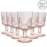 Bormioli Rocco Bicchiere a Calice per Vino - in Vetro dal Taglio Vintage Italiano - Rosa - 320 ml - 6 Pezzi