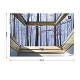 Nebligen Wald 3D-Dachfenster-Ansicht Vlies Fototapete Fotomural - Wandbild - Tapete - 104cm x 70.5cm / 1 Teilig - Gedrückt auf 130gsm Vlies - 10412VEM - Wald und Bäume Test