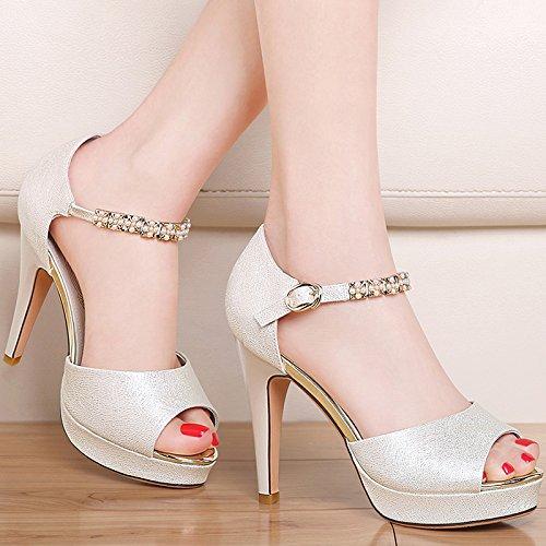 Lgk & fa sandali da donna estate temperamento bene con la bocca dei pesci scarpe con tacco Xia Word fibbia diamante sandali impermeabile tavolo bianco, 37 Beige 35 Beige