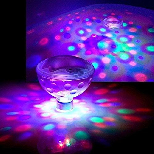 GCDN Schwimmende Pool Led Badewanne Lichter Unterwasserlampe für Bad Disco Teich Schwimmbad Kind Badespielzeug, 7 Modi Farbe Sortiert Batteriebetrieben(1pc) -
