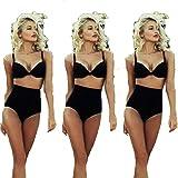 SSITG Damen High waist Bandage Bikini Set Push up gepolsterten BH Badeanzug Baden Anzug Bademode