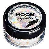 Schillernder grober Glitzer von Moon Glitter - 100% kosmetische Glitzer für Gesicht, Körper, Nägel, Haare und Lippen - 3g - Weiß