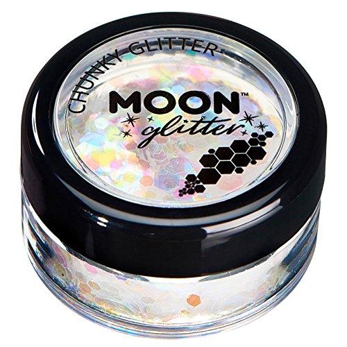 Schillernder grober Glitzer von Moon Glitter - 100% kosmetische Glitzer für Gesicht, Körper, Nägel, Haare und Lippen - 3g - Weiß (Weiße Make Up Für Gesicht)