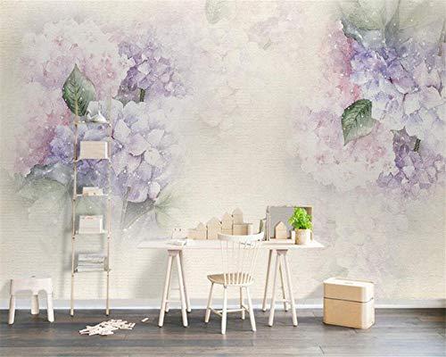 Fiartel Individuelle Tapeten Wohnzimmer Hintergrund 3D Wallpaper Lila Hydrangea Leaf Butterfly Fototapete 3D Wallpaper-300X210CM - Hydrangea-bilder Lila