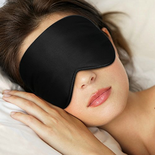 Price comparison product image Sleep Mask,Eye Mask,TechRise Skin-Friendly Pure Natural Silk Fabric and Pure Cotton Filled Sleeping Mask with Ear Plug and Ajustable Comfortable Strap - Black