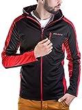 BetterStylz Krelo Herren Softshell Premium Jacke mit Kapuze Größen (S-XXL) (S, Schwarz/Rot)