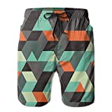 Beach Shorts Shadows Zig Zag Decorative Image Man's Breathable Swim Trunks Workout Board Pants
