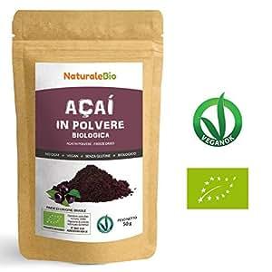 Bacche di Açai Biologiche in Polvere [ Freeze - Dried ] 50 gr | 100% Prodotto in Brasile, Liofilizzato, Crudo ed Estratto dalla Polpa della Bacca di Acai | Superfood Ricco di Antiossidanti e Vitamine.