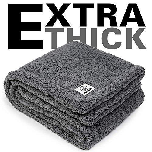ALLISANDRO Flauschige Hundedecke 100x80cm Grau Katzen Decke mit super Soft weiche zweiseitige Flauschige Haustier-Decke, Überwurf für Hundebett Sofa und Couch