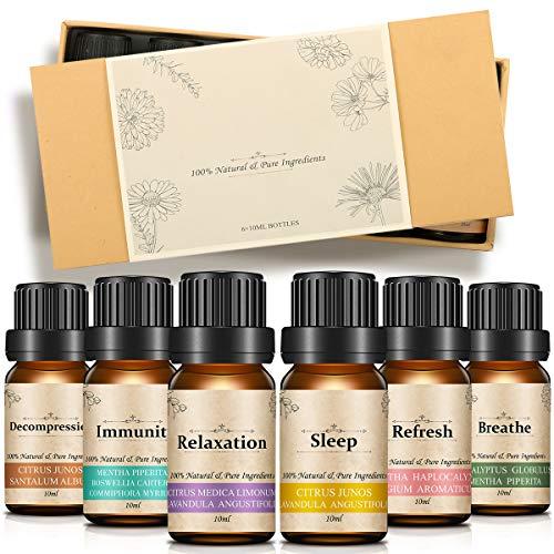 Körper-Öl Essentials Kit (Slimerence Aromatherapie ätherische Öle, aromatherapie öle Geschenk Set & Kit, (6 x 10 mL Essential Oils, 100 Percent Pure Lavender, Sweet Orange, Mint, Frankincense, Bergamot, Eucalyptus))