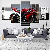 PQNM Noyau Rouge Noir Moto 5 Pièce HD Fonds D'écran Art Tissu Moderne Affiche Peinture modulaire pour la décoration intérieure