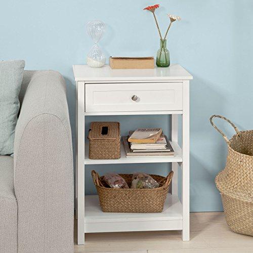 SoBuy® FBT46-W Beistelltisch Nachttisch Couchtisch in weiß mit einer Schublade und 2 Ablagen BHT ca: 45x68x30cm - 6