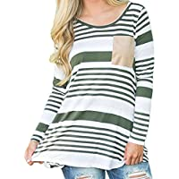 Damen Casual Bluse CLOOM Langarm Block Patch T-Shirt Tunic Top Sommer O-Ausschnitt Oversized Retro Basic Blouse... preisvergleich bei billige-tabletten.eu