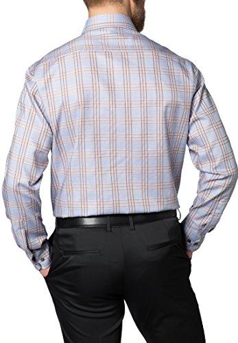 Eterna Long Sleeve Shirt Comfort Fit Oxford Checked Beige/Marrone