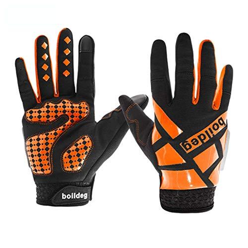 MISS&YG Outdoor-Sportler stoßdämpfende Fahrradhandschuhe Fünf-Finger-Rutschfeste atmungsaktive Fahrradhandschuhe,orange,XL
