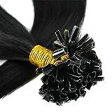 200 Mèches Extension Cheveux Naturel Pose a Chaud - Extensions Keratine Pre Bonded U Tip Remy Human Hair Extensions - Pour Toute la Tête (40CM-100g, #1B NOIR NATUREL)