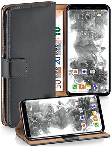 moex Booklet mit Flip Funktion [360 Grad Voll-Schutz] für Samsung Galaxy S8 | Geldfach und Kartenfach + Stand-Funktion und Magnet-Verschluss, Dunkel-Grau