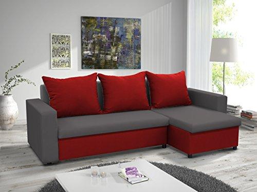 kleines Ecksofa Sofa Eckcouch Couch mit Schlaffunktion und zwei Bettkasten Ottomane L-Form Schlafsofa Bettsofa Polstergarnitur LARS (Grau + Rot, Ecksofa...